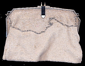 Lovely White Glass Beaded Handbag - Vintage (Image1)