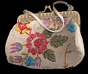 Vintage Marco Avane Glass Bead Floral Purse/bag