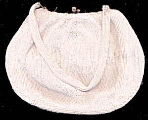 Vintage Heavy White Glass Beaded Handbag/Purse (Image1)