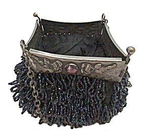 "Old 6"" Blue/black Beaded Purse With Silver Frame"