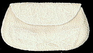 Vintage Richere White Beaded Leaves Clutch Purse
