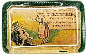 """j Myer Lowville, Ny"" Advertising Paperweight"
