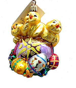 Radko Chicks Easter Peep Trio Ornament In Box
