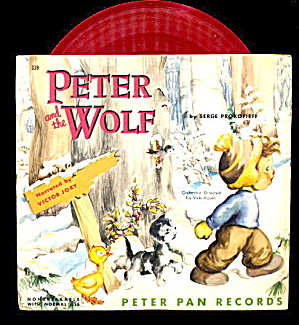 1953 Peter And The Wolf Childrens 45 Record In Sleeve