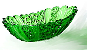 "Lovely 9"" Vintage Green Glass Relish Dish"