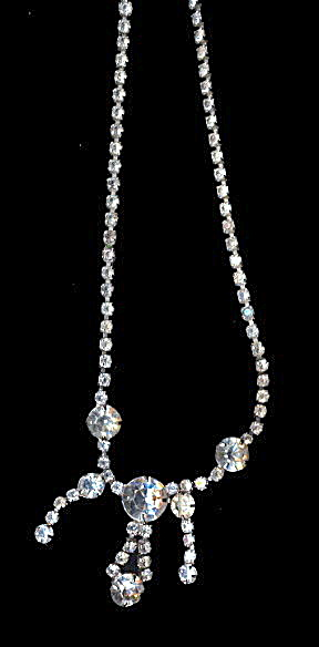 "Lovely 15"" Drop Dangle White Rhinestone Necklace (Image1)"