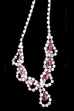 "Gorgeous White & Purple Rhinestone 14"" Choker (Image1)"