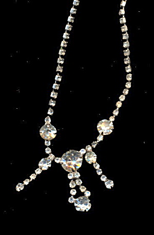 "Rhinestone w Dangles 13"" Choker Necklace (Image1)"