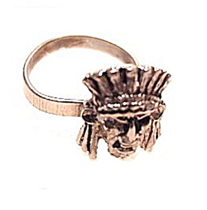 Lovely Silverplate Indian Head Ring (Image1)