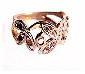 10kt HGE with Rhinestones Swirl Ladies Ring (Image1)