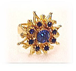 Lovely Flower Blue Glass & Goldtone Ring (Image1)