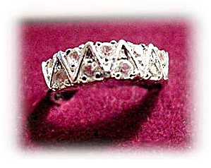 Lovely White Crystals with Silvertone Ladies Ring (Image1)