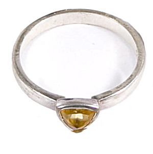 Early .925 Sterling Silver W Yellow Stone Ring