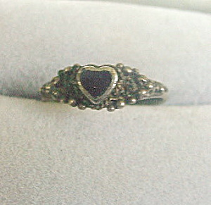 Early .925 Sterling Silver With Black Stone Heart Ring