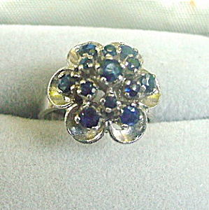 Vintage .950 Sterling Silver Blue Flower Ring (Image1)