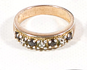 Early .925 Sterling Silver With Small Black Stones Ring