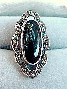 Early .925 Sterling Silver With Black Stone Ring