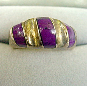 Large Mexico .925 Sterling with Purple Ladies Ring (Image1)