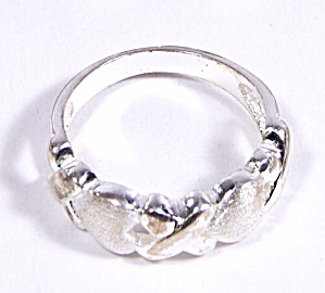 Early .925 Sterling Silver Hearts & X Design Ring