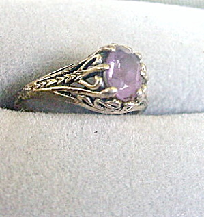 Lovely Delicate Sterling Silver w Amethyst Ladies Ring (Image1)