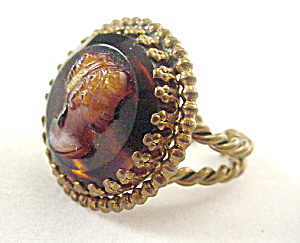 W Germany Brown Glass Cameo Relief Ring (Image1)