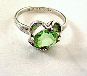 Lovely Sterling Silver NRL with Light Green Stone Ring (Image1)
