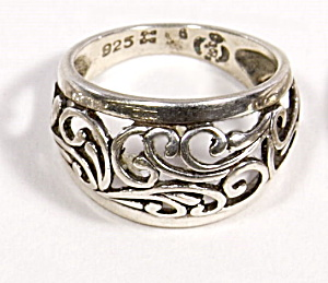 Early .925 Sterling Silver Scroll Design Ring