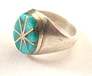 Sterling Silver & Turquoise Oval Ladies Ring