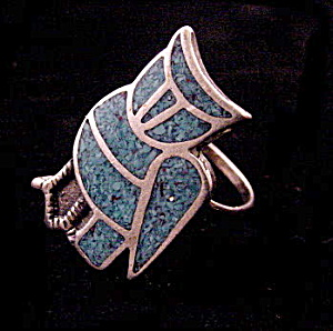 Sterling Silver & Blue Stone Owl Bird Ladies Ring (Image1)
