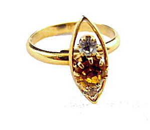 Vintage Orange & White Rhinestone Ladies Ring (Image1)
