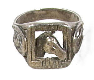 Early .925 Sterling Silver Horse Head Ring