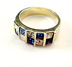 Beautiful Blue & White Stone Square Vintage Ring (Image1)