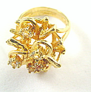18kt HGE Espo Flower with Stones Ladies Ring (Image1)