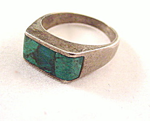 Sterling Silver With Blue Glass Inset Ring