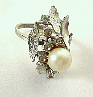 18kt HGE Espo Silver Flower w Stones Ladies Ring (Image1)
