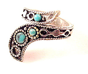 Vintage Swirl Silvertone & Blue Glass Ladies Ring (Image1)