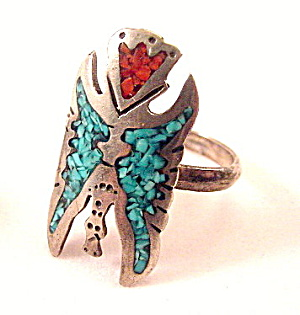 Sterling Silver & Turquoise Eagle Ladies Ring (Image1)