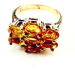 Vintage Sterling Silver & Citrine Ladies Ring (Image1)