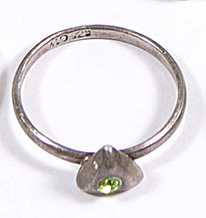 Early .925 Sterling Silver Cu Green Stone Ring
