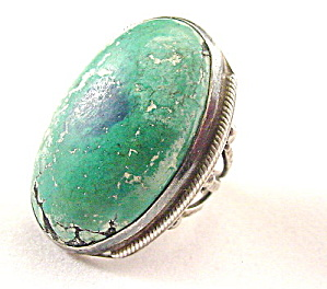 Sterling Silver Huge Green Stone - Vintage (Image1)
