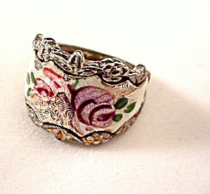 Vintage Enameled Roses Silvertone Ladies Ring (Image1)