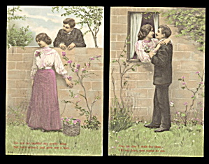 2 Couples Romance Series 1907 Postcards (Image1)