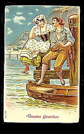 Lovely 1906 'Venetian Gondeliers' Romance Postcard (Image1)