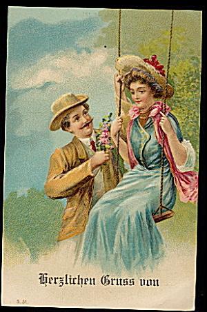 Lovely Romance Herzlichen Gruss von 1907 Postcard (Image1)