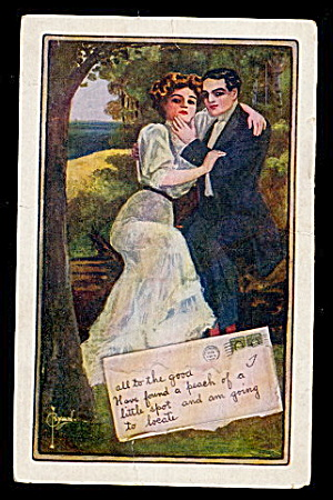 Lovely Signed Ryan Couple in Love 1911 Postcard (Image1)