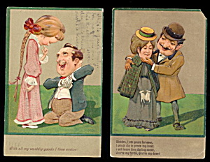 2 PFB Romance/ Couples Satire 1907 Postcards (Image1)