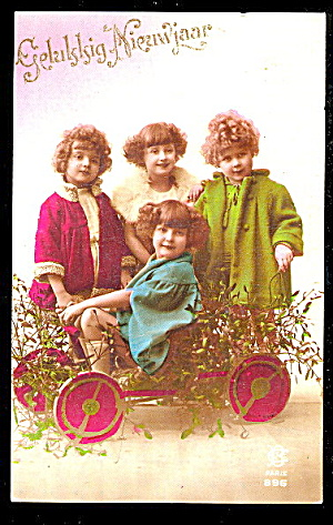 Christmas Children In Wagon 1918 Real Photo Postcard