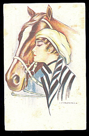 Art Deco Nanni Girl With Horse 1917 Postcard