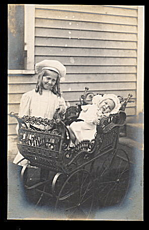 Children with Carriage Real Photo 1907 Postcard (Image1)