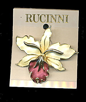 Rucinni Orchid Flower Brooch Swarovski Pin On Card